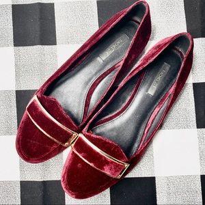 RACHEL ZOE Lily Velvet Ruby Smoking Slipper Loafer